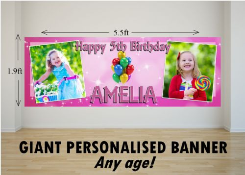 Personalised GIANT Large Pink Sparkle & Balloons Happy Birthday PHOTO Poster Banner N56 ANY AGE